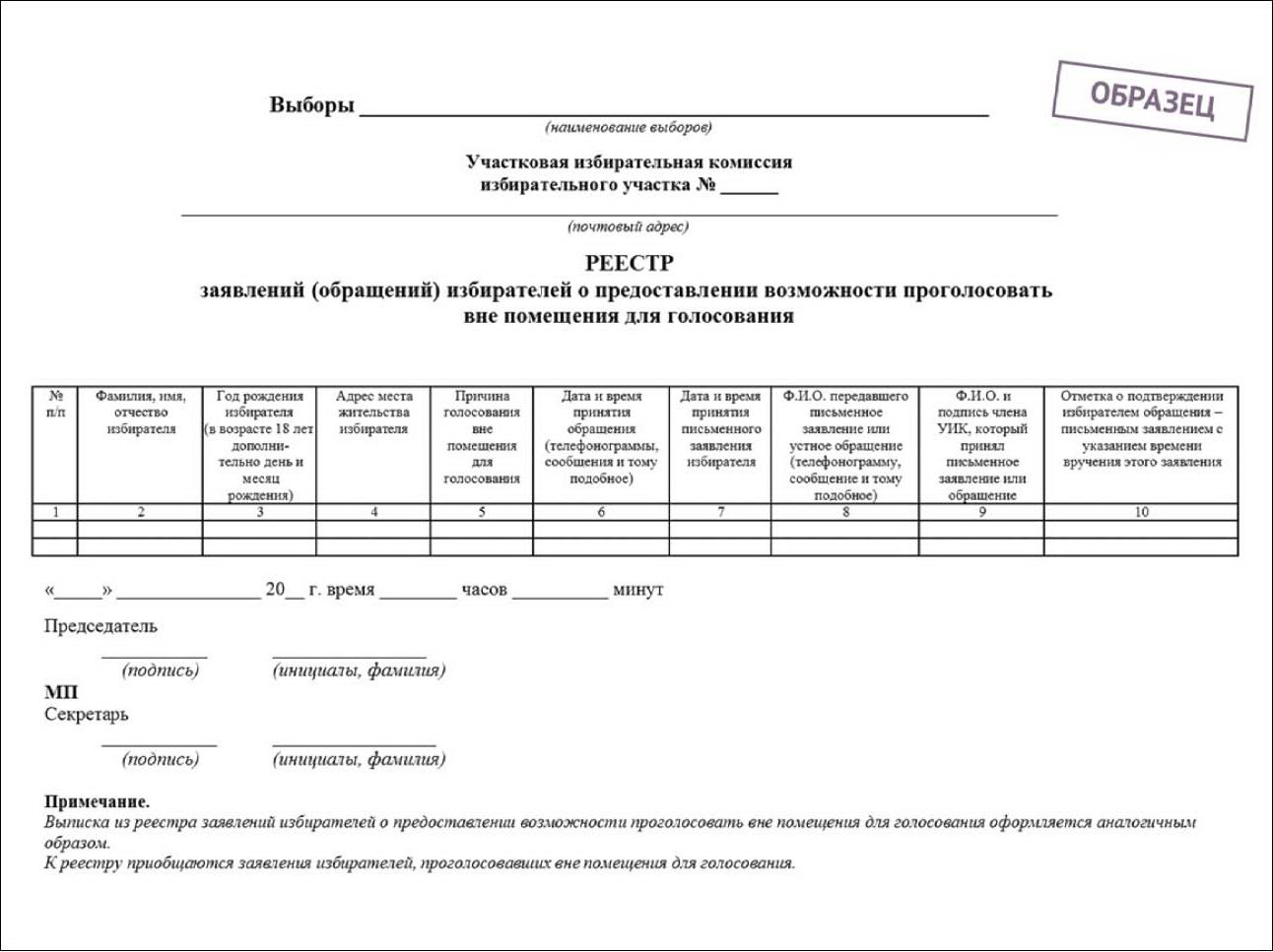 бланк заявления о предоставлении выписки из реестра